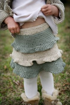 crochet skirt - ruffled tiers for little girl