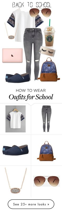"""""""back to school"""" by grace-m-bass on Polyvore featuring River Island, TOMS, Kendra Scott, Ashley Stewart and Casetify"""