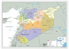 Detailed large political map of Syria showing names of capital city, towns, states, provinces and boundaries with neighbouring countries. Middle East Map, Syria Conflict, Invisible Hand, Teaching Geography, Map Pictures, Wall Maps, Vinyl Banners, Aleppo, Classroom Displays