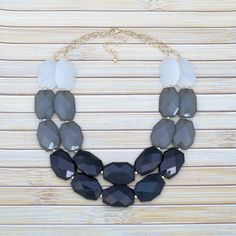 Black Grey and White Color Block Statement Necklace large beads double multi strand layer layered bold bib collar fashion chain chunky gold