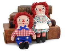 Pair Raggedy Ann & Andy Dolls by Knickerbocker 7 inch Miniature from the 1960's