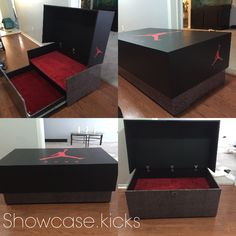 Retro Jordan 3 giant shoe box with the red CARPET treatment completed. Holds 20 pairs of your choice kicks. Follow me on Instagram @showcase.kicks great gift ideas for the sneakerhead in your life
