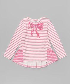 Look what I found on #zulily! Flower Pink Stripe Sequin Bow Top - Toddler & Girls by E-Land Kids #zulilyfinds