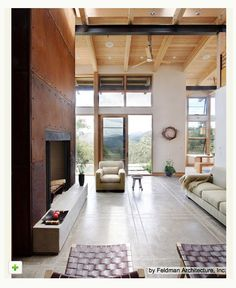 funky metal panels around the fireplace! rustic chic! http://www.houzz.com/ideabooks/1539993/list/Metallic-Home-D--cor-Shines-On