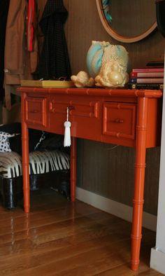 orange painted bamboo desk