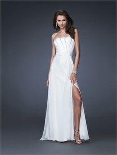 Column Strapless Ruched Bodice with Beadings Chiffon Long Prom Dress PD10961 www.dresseshouse.co.uk £105.0000