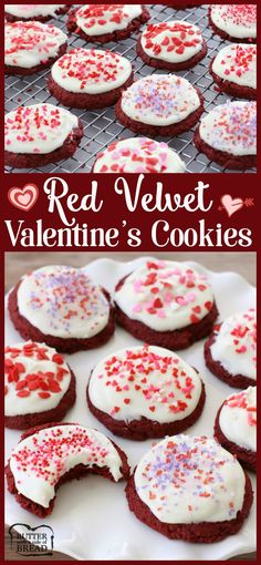 Red Velvet Valentines Cookies - super soft, perfectly sweet with a lovely rich flavor- these cookies are crazy good & so easy to make! Recipe from Butter With A Side of Bread