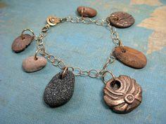 Grounding River Rock and Bronze Charm Bracelet on Etsy, $50.00