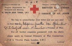 World War I Red Cross Prisoner of War Card.                                                                                                                                                                                 More