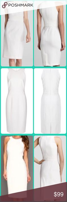 🦋French Connection White Sheath Dress Sz 4 NWT👗 👗🦋👗♥️French Connection crepe dress will create a sharp silhouette. Add simple sandals and a beaded clutch for sleek eveningwear.  Dancing Art Dress has a high round neck, cut-away shoulders, darting at bust, a fitted waist, a slit and concealed zip at the back and is lined at the top. Skirt is not lined.🌷🌹🌷🌹 * Dry Clean Only * 90% Polyester 10% Elastane * Length from centre back; 98.5cm♥️💕♥️💕 French Connection Dresses Midi