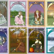 Set of eight greetings cards designed by Phantoms Siren. Each one features a different design representing the eight stages of the pagan wheel of the year - Imbolc, Ostara, Beltane, Litha, Lughnasadh, Mabon, Samhain and Yule. Each card is blank for yo...