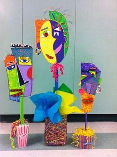 Check out artwork on Artsonia, the largest student art museum on… Kunst Picasso, Art Picasso, Club D'art, Cardboard Art, Cardboard Sculpture, Art Programs, Art Lesson Plans, Art Portfolio, Art Plastique