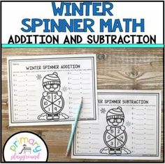 Winter Spinner Math Addition and Subtraction - Primary Playground