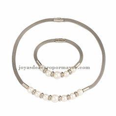 collar y bracelete plateado con perla en acero inoxidable para mujer -SSNEG481658