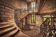 Incredible stairway of an abandoned chateau in France.
