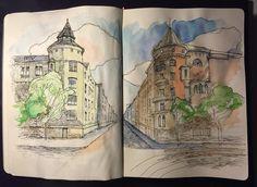#sketchbook #drawing #bulevardi #helsinki #watercolor #sketch Danny Gregory, Architecture Sketches, Drawing Journal, Urban Sketchers, Watercolor Sketch, Helsinki, Journaling, Vintage World Maps, Drawings