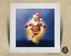 Cadre carré 25x25 avec Illustration Génie Père Noël et théière