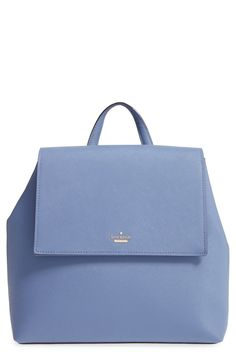 Crosshatched leather composition accentuates the smart, structured silhouette of this spacious backpack from Kate Spade.