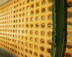 Cobogó Pernambuco amarelo #concrete_block  #block_screen #perforated_block