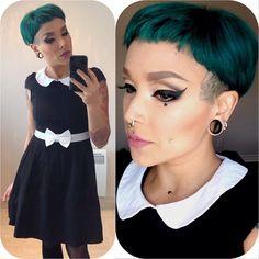 Funky Short Hair, Short Hair Styles, Buzzed Hair Women, Dimple Piercing, Dark Green Hair, Mullet Hairstyle, Hair Makeup, Glam Makeup, Short Bob Haircuts