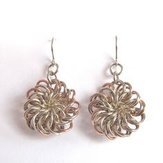 Chainmaille Chrysanthemum Earrings Sterling Silver and Copper