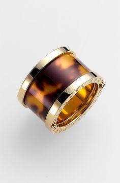 Great for stacking: Michael Kors tortoiseshell barrel ring.