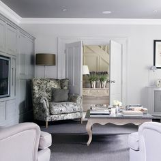 enchanted-corner:  (via Traditional grey and lilac living room | Living room decorating | housetohome.co.uk)