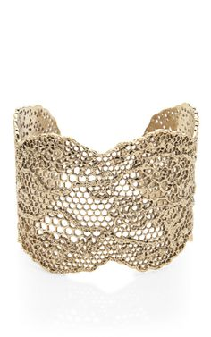 Yellow Gold Laser Cut Lace Cuff by Aurelie Bidermann