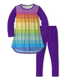 Take a look at this Violet & Rainbow Stripe Tunic & Legging today!