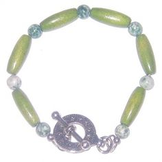 Olive Green, White and Forrest Green Wood and Agate Men's Bracelet by AngieShel Designs, LLC at www.angiesheldesigns.com
