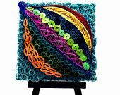 Quilled abstract leaf - multi colored leaf -quilled mosaic art - quilled leaf - quilled paper art - colorful leaf quilled - customized arr