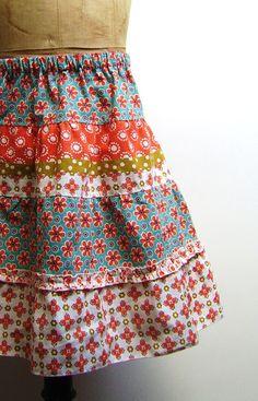 silly old suitcase: DIY Tutorial; zomers stroken rokje... ruffled summer skirt...