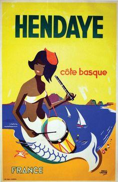 Hendaye (Pays basque, France), la côte basque. Affiche - Hendaya (País Vasco, Francia), la costa vasca. Cartel