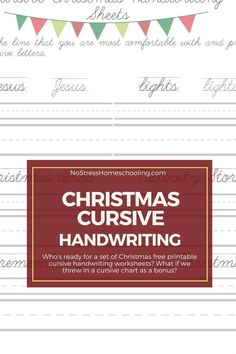 Who's ready for a set of Christmas free printable cursive handwriting worksheets? What if we threw in a cursive chart as a bonus?