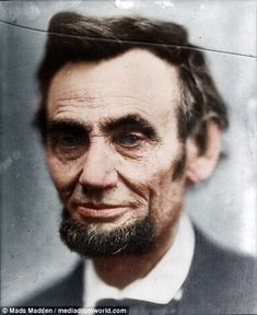 A colourised image of what is thought to be the last photo of Lincoln before his death...