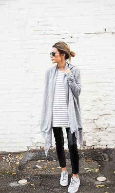 casual leather leggings and oversized cardigan