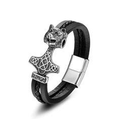 Bracelet En Cuir Mens Leather Accessories, Jewelry Accessories, Head Jewelry, Jewelry Gifts, Metal Bracelets, Bangle Bracelets, Fashion Bracelets, Fashion Jewelry, Bracelet Viking