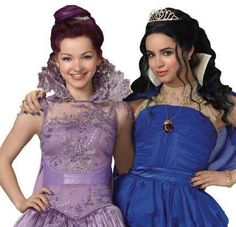 Dove Cameron & Sofia Carson as Mal and Evie in their coordination dresses.