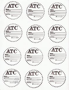Artist Trading Coin Backs Template Hand Made With Rubber Stamps Use And Decorate As