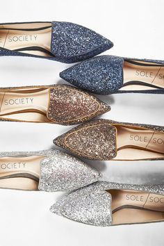 Pointed toe smoking slippers in navy, bronze & silver glitter