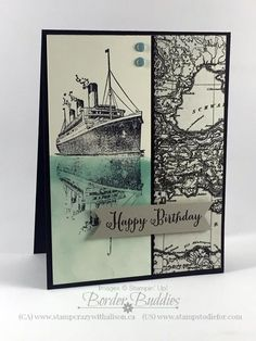 Visit www.stampstodiefo... to see how to create the ship's reflection in the water.  Reflection Technique using Traveler stamp set #stampinup #stampingtechniques www.stampstodiefo...