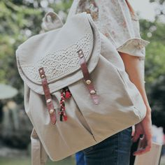 Solid Lace Drawstring Double Hasp Backpack