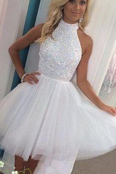 Short White Beading Prom Homecoming Dresses, Knee-Length Prom Dress, Pretty Prom Dress, Junior Prom Dress, Backless Homecoming Dress, Beading Prom Dress, Homecoming Party Dress,Cute Homecoming Dresses