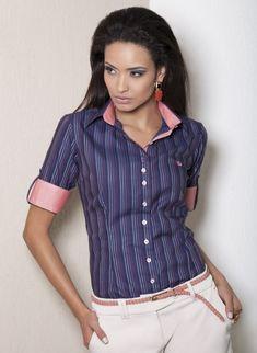 camisa manga curta social camilla colarinho look