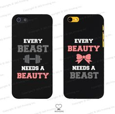 Every Beauty and Beast Need Each Other Couples Matching Phone Cases for iphone 4 4S 5 5C Galaxy S3 S4 S5 - Cute Matching Covers for Couples on Etsy, $14.99