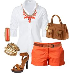 """Untitled #222"" by yjmunson on Polyvore  Another way to wear my orange shorts! :)"