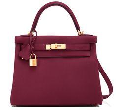 #Hermes #Kelly #Bag Bordeaux Togo Gold Hardware
