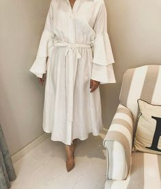 "162 Likes, 3 Comments - ▫️E L H A M A L A R I F ▫️ (@elham.alarif) on Instagram: ""White linen dress 4 pieces available To order : +971556396090 (Whatsapp Only)"""