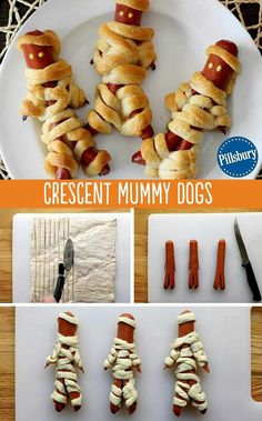 Crescent Mummy Dogs Kids aren't the only ones to dress up this Halloween! Wrap up some mummy dogs with Pillsbury crescent rolls. Ketchup and mustard eyes are the finishing touch to this kid-favorite Halloween dinner. You could even make these treats for a Dessert Halloween, Halloween Goodies, Halloween Dinner, Halloween Food For Party, Halloween Halloween, Halloween Recipe, Halloween Cupcakes, Halloween With Kids, Halloween Food Recipes