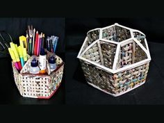 How to  make a Desk Organizer using newspaper and cardboard /  DIY desk organizer - YouTube Newspaper Basket, Newspaper Crafts, Recycled Magazines, Recycled Crafts, Paper Furniture, Diy Desk, Desk Organization Diy, Cardboard Jewelry Boxes, Diy Cardboard